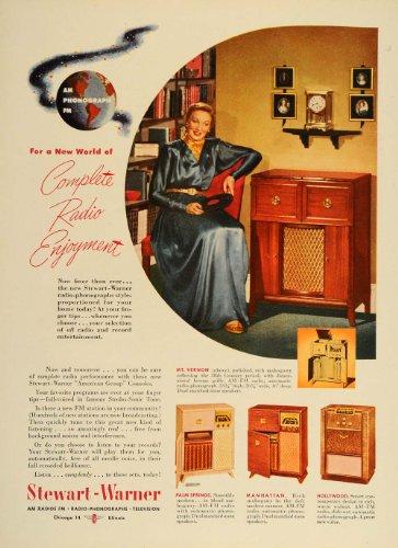 1948 Ad Stewart Warner Radio Phonograph Cabinet Console Media Entertainment - Original Print Ad (Warner Stewart Radio)