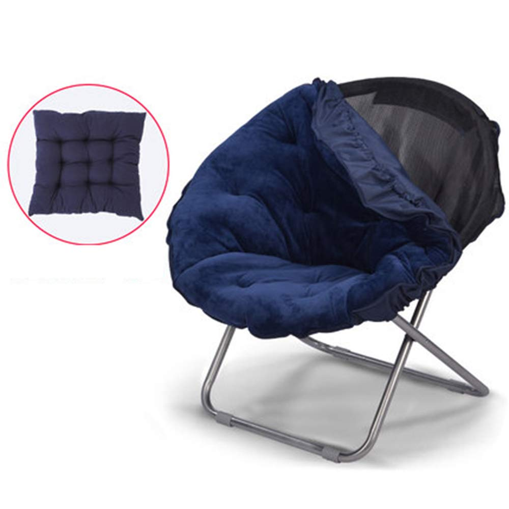 bluee + cushion + detachable Large Lazy Chair Moon Chair Folding Recliner Dormitory Chair Lunch Break Lazy Couch Chair Sun Lounger Leisure