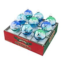 Shiny Brite Winter Frost Signature Flocked Ombre - Set of Nine