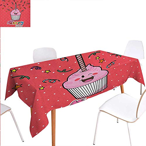 Washable Tablecloth Pink Strawberry Flavor Cupcake with Candle Cute Face Confetti Bow Tie and Dots Waterproof Tablecloths 54