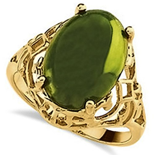 Women's Cabochon Cut, Oval Jade Fashion Ring w/ 14x14mm Green Gemstone in Polished 14K Yellow Gold 14k Yellow Gold Jade Ring