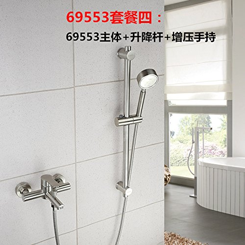 69553 Package 4 Hlluya Professional Sink Mixer Tap Kitchen Faucet 304 Stainless Steel shower kit lift lever flush bath shower faucet mixing valve in the,69551B Package A