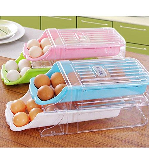 Amyove Refrigerador casero de la Cocina Almacenamiento Cajón plástico Tipo Caja del sostenedor del Huevo Caja del...