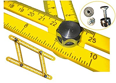 NEW DESIGN: SIZEors Measurement Template Tool for Tiling, Cutting Bricks and Construction Projects, Accurate Measuring for DIY Craftsmen with Metal Bolts And Knobs for Secure Locking
