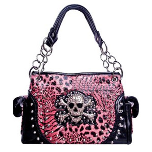 Zebra Print Satchel Handbag (Skull & Cross Bones Zebra Leopard Print Chain Handle Satchel Purse Pink (pink))