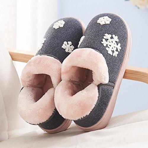 Y-Hui Autunno e Inverno maschio pantofole di cotone borsa con coppie di spessore caldo scarpe con suole di slittamento su scarpe in inverno,36-37 (Fit per 35-36 piedi),grigio