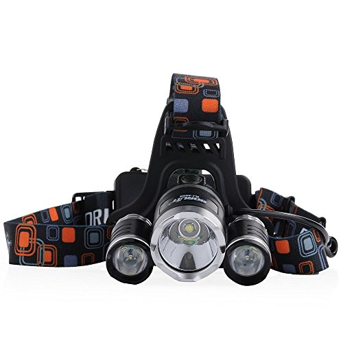 Cymas LED Headlamp,5000 Lumens,with 2 x 18650 Rechargeable Batteries,Waterproof Headlamp for Camping