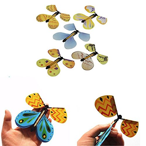Gold Happy 100pcs Magic Butterfly Flying Butterfly From Empty Hands Freedom Butterfly Magic Tricks Mentalism Magie Kids Children Toy by Gold Happy