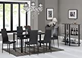 7 Piece Kitchen Dining Table Set For 6 With Modern Glass Top Table And Rust Resistant Metal Chairs Rectangular Black