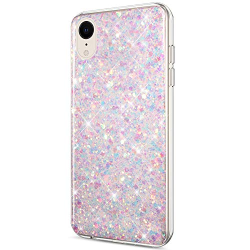 Price comparison product image ikasus Case for iPhone XR Case Glitter Bling Crystal Sparkly Shiny Bling Powder 3D Diamond Paillette Slim Glitter Flexible Soft Rubber Gel TPU Protective Case Cover for iPhone XR, Purple