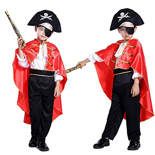 Shallylu Boys Pirate Captain Costume, Dress Up Pirate Party Costumes for Kids Cosplay, Birthday, Pretend Play, Theme Party, Halloween, Christmas Party Favors (4-6 Years) ()