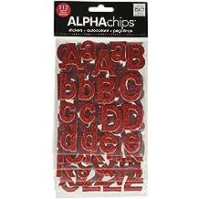 me & my BIG ideas Alpha Chips Designer Chipboard Letter Stickers, Bailey Alphabet, Light Red Glitter