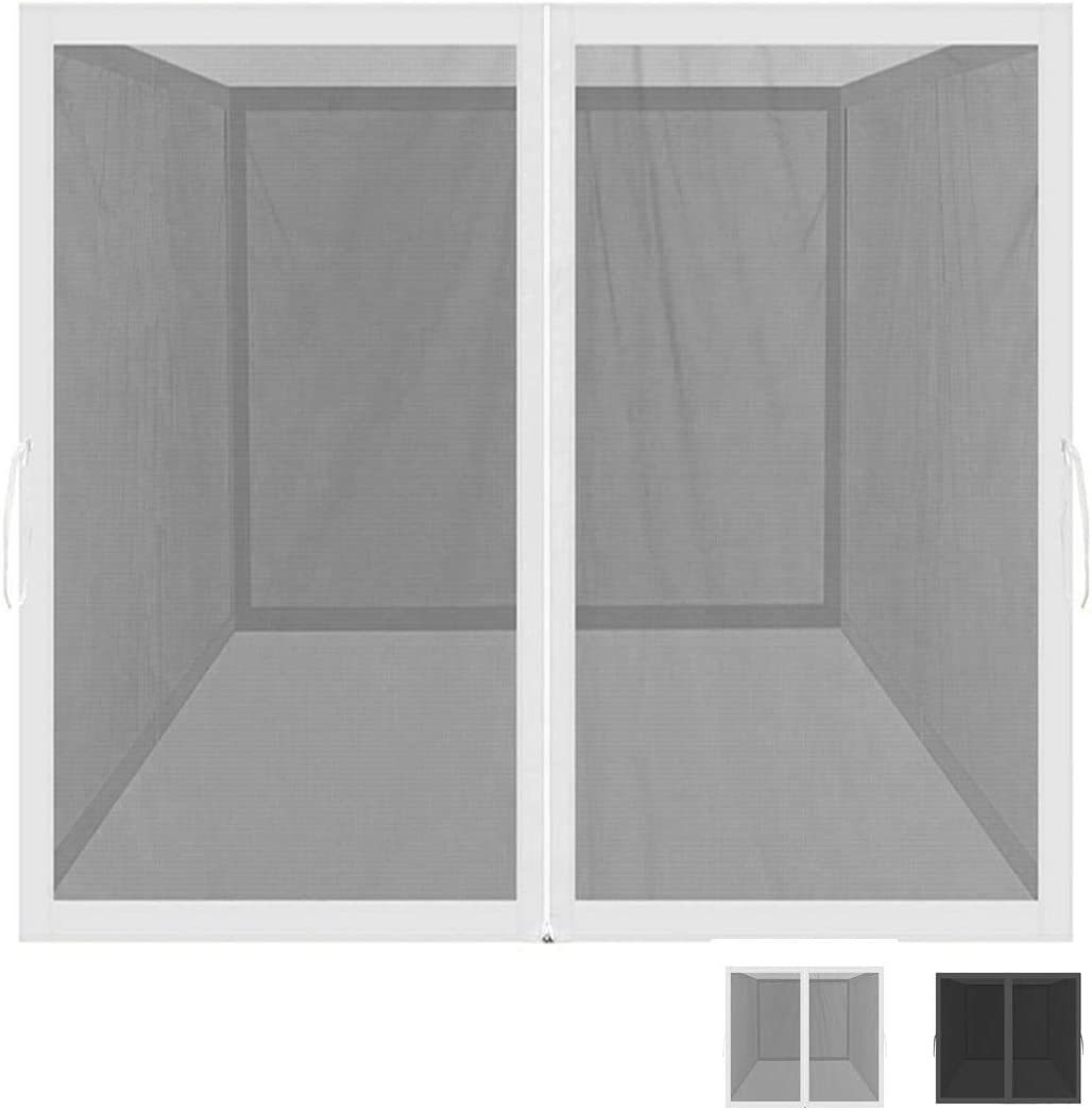 GREARDEN Mosquito Net for Outdoor Patio and Garden, Screen House for Camping and Deck, Outdoor Gazebo Screenroom, Zippered Mesh Sidewalls for 10x 10 Gazebo and Tent Mosquito Net Only White