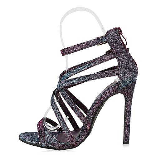 Stiefelparadies Damen Strass Sandaletten Stiletto High Heels Party Schuhe Metallic Glitzer Brautschuhe Hochzeit Nieten Schnallen Velours Animal Prints Flandell Mehrfarbig