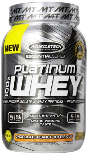 MuscleTech Platinum 100% Whey Supplement, Chocolate Peanut B