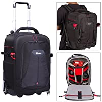 G-raphy Waterproof Anti-shock Camera Backpack Rolling Case with Wheels for DSLR/SLR Cameras