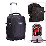 G-raphy Camera Luggage Backpack ,Camera Roller Bag Case for SLR DSLR Lenses , Laptops , Carry-on Compatible , Wearher- Cover , Convertible Backpack