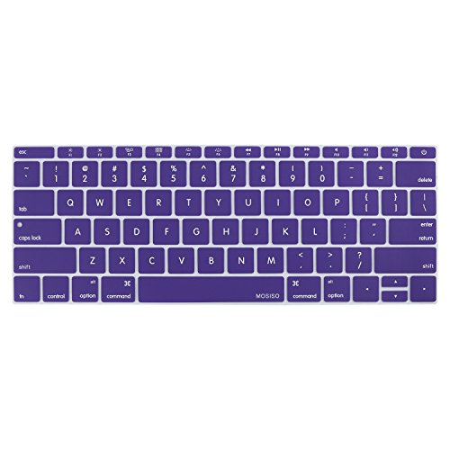 MOSISO Silicone Keyboard Cover Compatible MacBook Pro 13 Inch 2017 & 2016 Release A1708 Without Touch Bar, MacBook 12 Inch A1534 Protective Skin, Ultra Violet