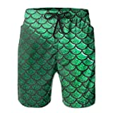 confirm vt Bright Green Pastel Mermaid Scales Men's Beachwear Board Shorts Quick Dry Without Lining Swim Trunks for Man