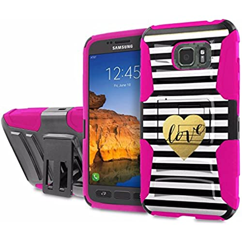 AT&T [Galaxy S7 Active] [5.2 Screen] Armor Case [SlickCandy] [Black/ Hot Pink] Heavy Duty Defender [Holster] [Kick Stand] Phone Case - [Chevron Love] for Sales