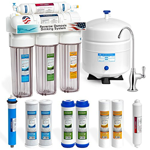Express Water Reverse Osmosis Water Filtration System - 5 Stage RO Water Purifier with Faucet and Tank - Under Sink Water Filter - Plus 4 Replacement Filters - 50 GPD with Clear Housings (Fluoride Water Detector)