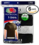 Fruit of the Loom Men's Stay Tucked Crew T-Shirt - X-Large Tall / 46-48 Chest - Black & Grey Stay Tucked (Pack of 6)