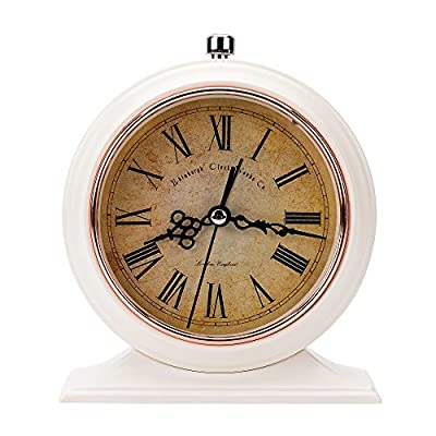 LauderHome 5-Inch Vintage Retro Old Fashioned Decorative Desk Clock with Nightlight, Quartz Analog Large Numerals, Battery Operated, Loud Alarm Clock - The metal frame and base bring stronger resistance to impact and better texture. European retro design with good practicability adds a touch of unique aesthetic charm to the modern home. Non-ticking, smooth sweeping quartz movement and second hand, ensure a good sleep and best working environment - clocks, bedroom-decor, bedroom - 51UQ8aTXqlL. SS400  -