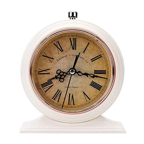 LauderHome 5-inch Vintage Retro Old Fashioned Decorative Desk Clock with Nightlight, Quartz Analog Large Numerals, Battery Operated, Loud Alarm Clock by LauderHome