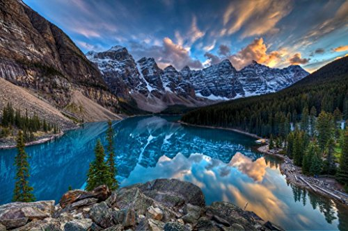 Painting on Moraine Lake Louise Banff National Park Alberta Canada Photo Art Print Mural Giant Poster 54x36 inch
