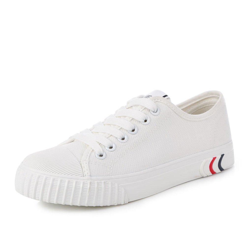 Koyi Bordado Pequeños Zapatos Blancos Femeninos de Encaje de Moda Plana Zapatos Casuales Deportivos Alpargatas Zapatillas de Deporte 37 EU|White1