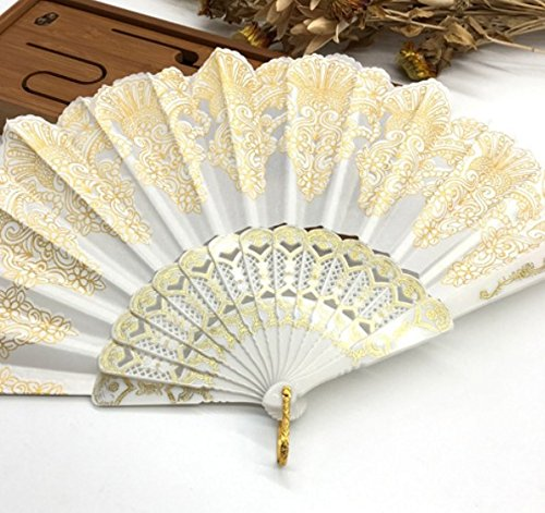 White Fashion Vintage Spanish Plastic Embroidered Hand Folding Women Girl Dancing Fan Home Decor Tools