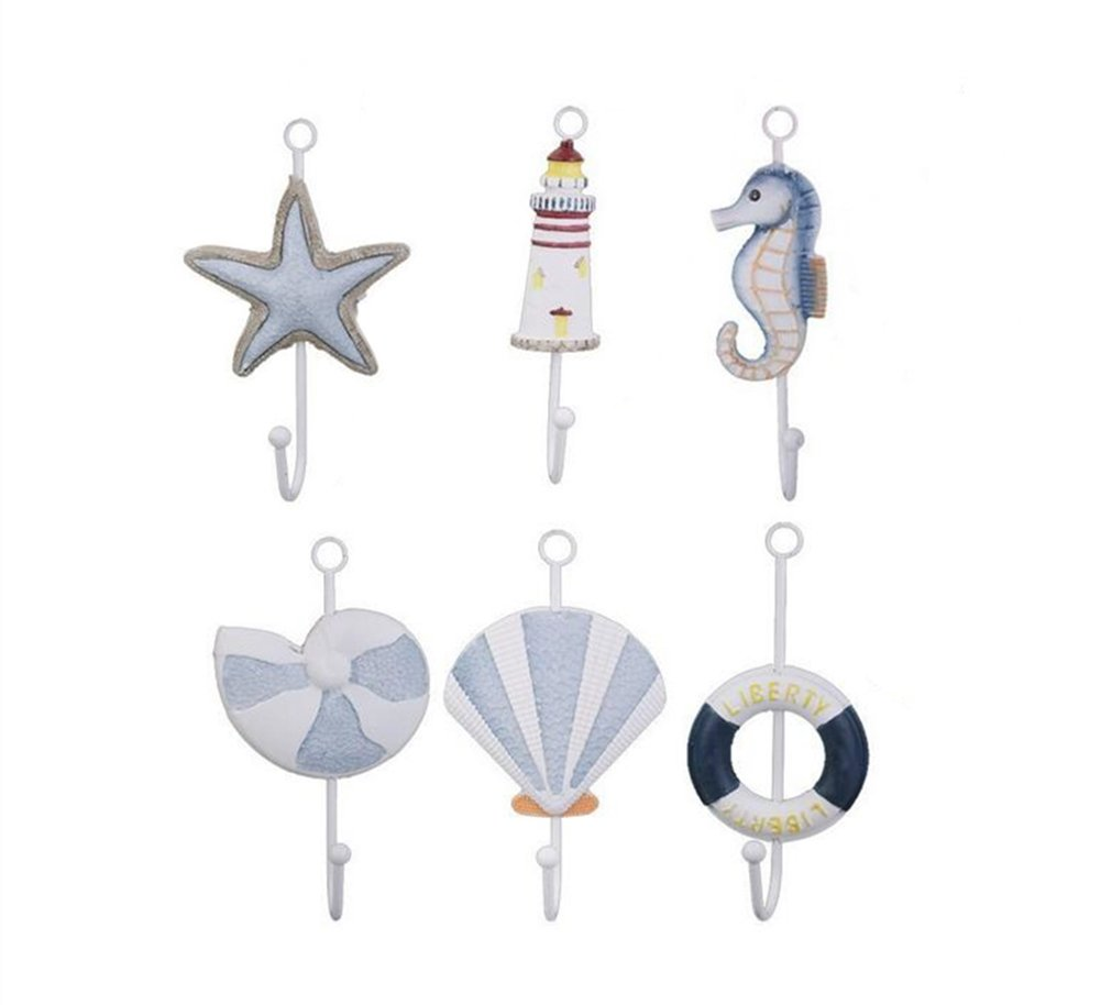 Nautical Collection Starfish Seanail Lighthouse Life Buoy Sea Shell Sea Horse Wall Door Clothes Hat Bag Hanger Hook Holder