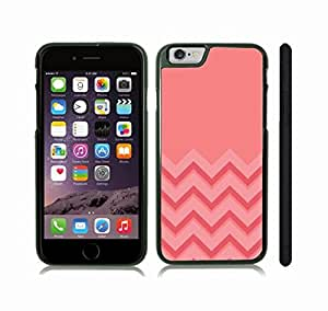 iStar Cases? iPhone 6 Case with Chevron Pattern Pink/ Peach Coral Stripe , Snap-on Cover, Hard Carrying Case (Black)
