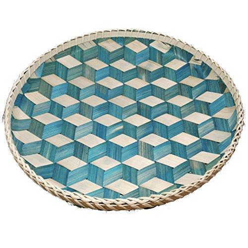 Ann Lee Design Round Serving Trays - Teal Blue - Flat Wall Basket