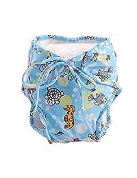 Adjustable Infant Swim Diaper with Ties, [Marine life], Size Medium, Blue