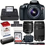 Canon EOS Rebel T6 Digital SLR Camera + EF-S 18-55mm & EF 75-300mm Lens + 32GB Memory Card + Canon SELPHY CP1300 Photo Printer (Black) + Canon KP-108IN Color Ink and Paper Set + Extra Printer Battery
