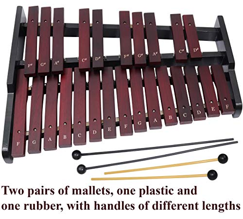 Wooden Xylophone for Adults - 25-note Xylophone with professional case - 4 mallets - Musical Songs for Beginners