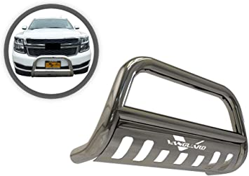 MaxMate Premium 3 Black Bull Bar Bumper Brush Guard with Skid Plate Fits 2019-2020 Chevrolet Silverado 1500 Excl. 2019 1500 LD /& 2020 Diesel Models