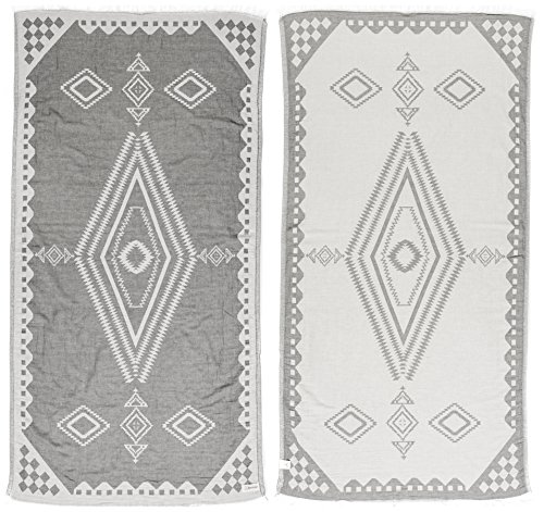Bersuse 100% Cotton - Bahamas Turkish Towel - Bath Beach Fouta Peshtemal - OEKO-TEX Certified - Aztec Bohemian Dual-layer Handloom Pestemal - 37X70 Inches, Silver Gray (Set of 6) (Small Hang Tag Diamond)
