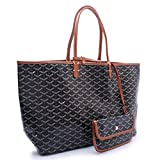 Agote Women Fashion Shipping Shoulder Tote Bag Set (BLACKBROWN.)