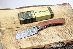 BuckShot Knives PBK222 Series Blade Made of 3CR13 Stainless Steel, Wood Handle, Razor Sharp. Includes Belt Clip.