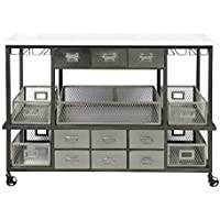 Pulaski Jasper Marble Top Kitchen Cart in Silver