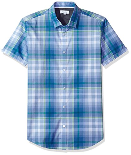 Calvin Klein Men's Short Sleeve Bar Plaid Button Down Shirt, Loyalty, Medium