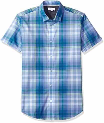 Calvin Klein Men's Short Sleeve Bar Plaid Button Down Shirt