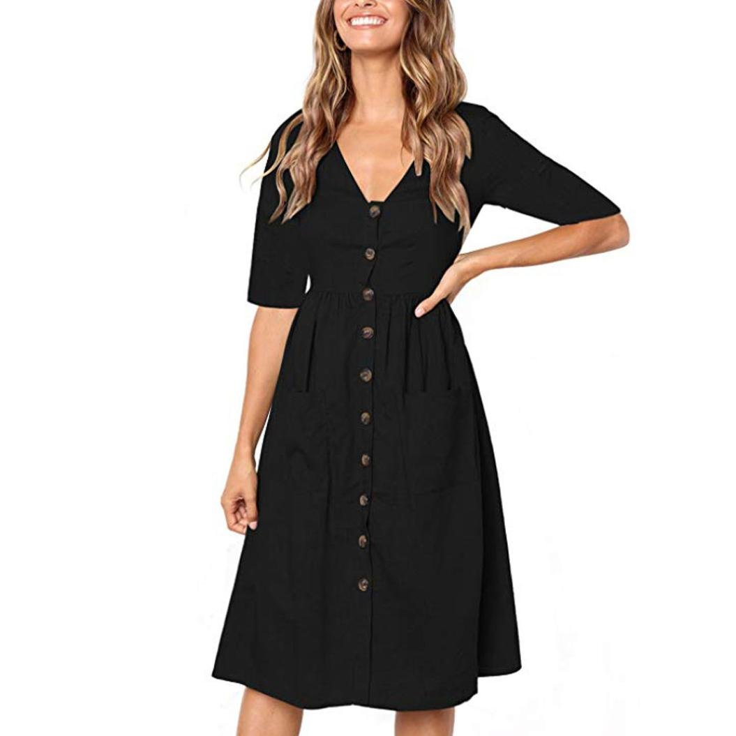 a8d91f1973 Hosamtel Womens Casual Holiday V Neck Beach Solid Half Sleeve Buttons Club  Party Midi Dress with Pockets at Amazon Women's Clothing store: