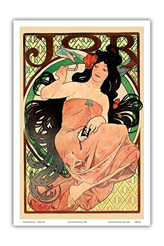 - Pacifica Island Art Job - Cigarette Rolling Papers Advertisement - Art Nouveau - Vintage Advertising Poster by Alphonse Mucha c.1898 - Master Art Print - 12in x 18in