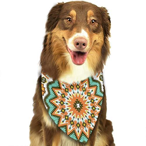 Dog Bandana Kaleidoscope Themed Boho Ethnic Sun Pattern Art Print Pet Scarf Pet Dog Bandanas Washable Triangle Dog Scarf,Pet Accessories ()