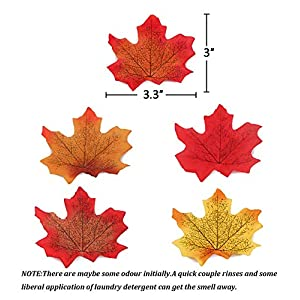 Moon Boat 500PCS Fall Artificial Maple Leaves Decorations - Thanksgiving Autumn Leaf Wedding Party Table Decor 3
