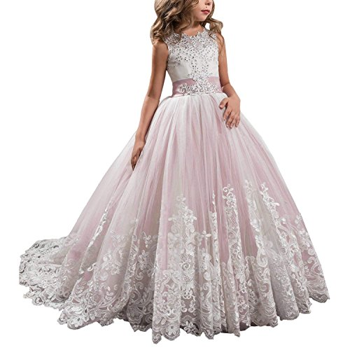 Princess Light Pink Long Girls Pageant Dresses Kids Prom Puffy Tulle Ball Gown US 12 -