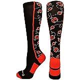 MadSportsStuff Crazy Socks with Ladybugs Over The Calf (Black/Red, Medium)